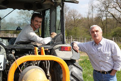 Father And Son Working Vineyard Royalty Free Stock Photos
