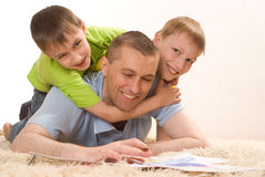 Father And Two Young Brother Stock Photos