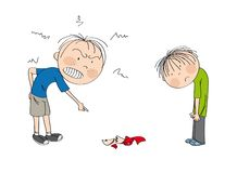 Father angry with his son, pointing his finger at broken cup on the floor, boy is looking sad, waiting to be punished. Original hand drawn illustration vector illustration