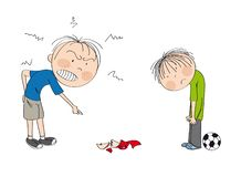 Father angry with his son, pointing his finger at broken cup on the floor smashed by football, boy is looking sad. Waiting to be punished - original hand drawn vector illustration