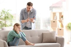 Father arguing with daughter stock image