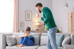 Father arguing with son stock photos