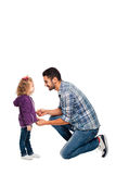 Father arranging backpack of his daughter Royalty Free Stock Photos
