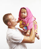 Father and baby. Smiling happy young father and his baby daughter having fun together Stock Photography