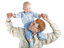 Father and baby. A photo of father and baby, isolated Stock Image