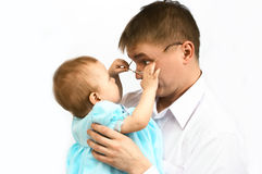 Father and baby. On white Stock Photography