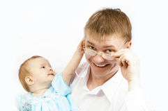 Father and baby. On white Stock Images