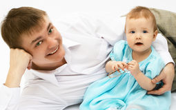 Father and baby. On white Stock Image
