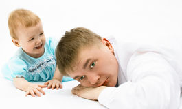 Father and baby. On white royalty free stock photo