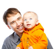 Father and baby. Smiling, isolated Stock Photos