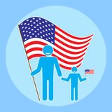Father with baby on a background of the American flag. Flat style figure man and child with the flag of the United States. Icon to celebrate Flag Day Stock Image