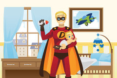 Father and baby boy vector illustration