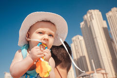 Father And Baby Boy At The JBR Beach Stock Photography