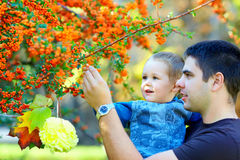 Father and baby boy study colorful environment Stock Photography