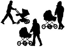 Father with a baby carriage Stock Image