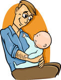 Father with baby cartoon illustration Stock Photos