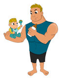 Father and a baby cartoon Royalty Free Stock Photography