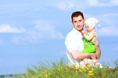 Father and baby daughter stock photography