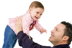 Father and baby daughter playing. Royalty Free Stock Image