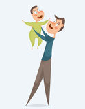 Father with baby. Funny cartoon characters. Vector illustration Stock Photography
