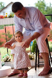Father and baby girl outdoor stock photo