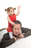 Father baby isolated. Young male man parent play with beautiful little baby Stock Photos