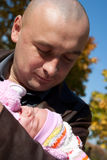 Father  with baby outdoor Stock Images