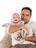 Father and baby on the white background Royalty Free Stock Photo
