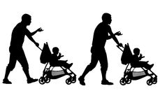 Father with baby and pram Royalty Free Stock Photos