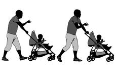 Father with baby and pram Stock Photography