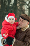 Father, baby, snowtime Royalty Free Stock Photos