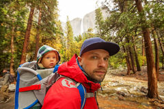 A father with baby son visit Yosemite National Park Royalty Free Stock Photography