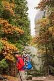 A father with baby son visit Yosemite National Park in Californa stock image