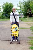 Father and baby son walking Stock Images