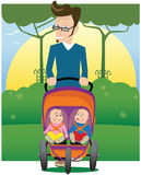 Father and baby stroller. A young father walking through the park with his two toddlers in a pushchair. E.P.S. 10 vector file included with image Royalty Free Stock Photo
