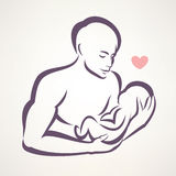 Father and baby symbol Royalty Free Stock Photos