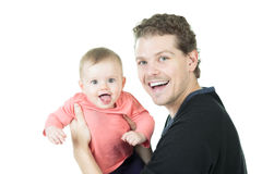 Father baby white background Stock Image