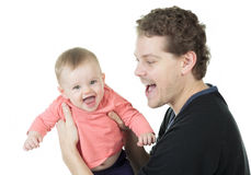 Father baby white background Royalty Free Stock Images