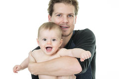 Father baby white background Royalty Free Stock Photos