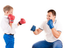 Father of boxing with son Stock Photo