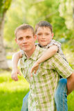 Father and boy in nature Stock Image