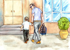 Father bring son to school. Hand painted Watercolor Illustration «Father bring son to school Stock Image