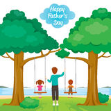 Father Care Kids Sitting On Swing. Father's Day Family Parent Offspring Love Relationship Royalty Free Stock Photography