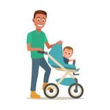Father carries child in a baby carriage. Color flat vector. Illustration isolated on white background Stock Images