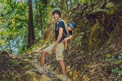 The father carries his son in a baby carrying is hiking in the forest. Tourist is carrying a child on his back in the nature of Vi Royalty Free Stock Photos