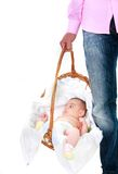 Father carrying baby in basket Royalty Free Stock Photography