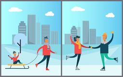 Father Carrying Child on Sleigh, Couple Skating. On skaterink together during winter holidays on background of skyscrapers vector illustration wintertime Royalty Free Stock Image