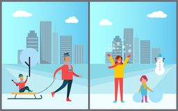 Father Carrying Child on Sleigh, Mother and Daughter. Spending time together during winter holidays on background of skyscrapers vector illustration Royalty Free Stock Photography