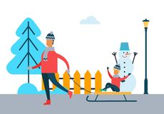 Father Carrying Child on Sleigh Son and Dad Vector. Father carrying child on sleigh, son and dad spending time together during winter holidays, vector Stock Images