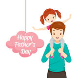Father Carrying Daughter On His Shoulders. Father's Day Family Parent Offspring Love Relationship Stock Images